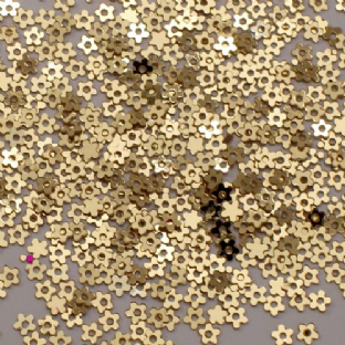 DISCONTINUED Tiny 3mm Metallic Gold Flower Sequins.